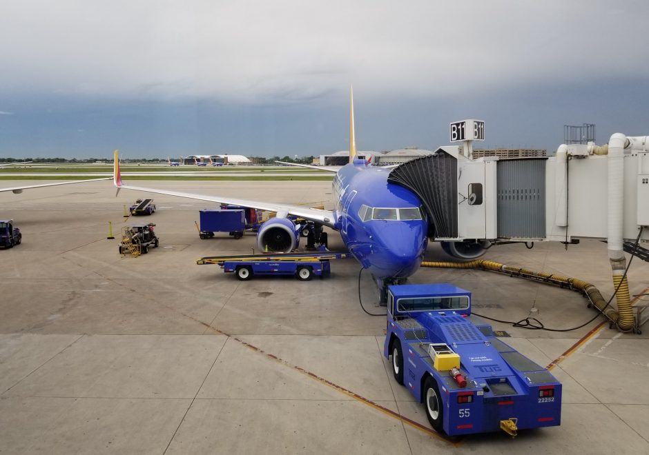 parked aircraft connected